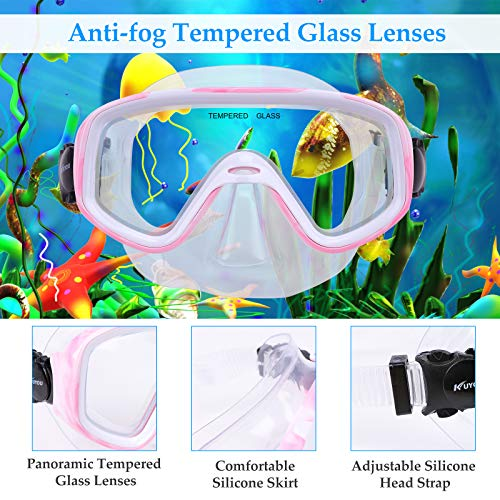 Kuyou Snorkel Set Children,Kids Dry Snorkeling Set Anti-Fog Snorkel Mask Impact Resistant Panoramic Tempered Glass with Easy Breathing Tube for Youth Junior Girls,Boys (A Pink)
