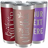Mothers Day Gifts, Personalized Tumblers w/ Splash Proof Lid - 20oz - Rose Gold - Vacuum Insulated Travel Coffee Mugs - Stainless Steel Double Wall Tumbler - Personalized Cups - Gifts for Her, Women