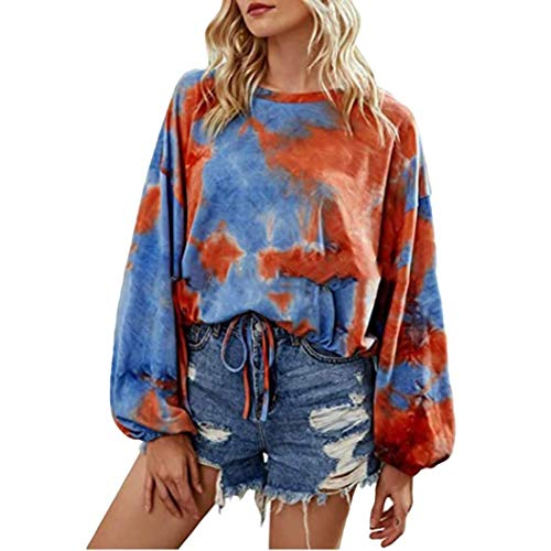 MU2M Womens Tie Dye Long Sleeve Drawstring Crop Top Crew Neck T-Shirt Blouse Red US 2XL