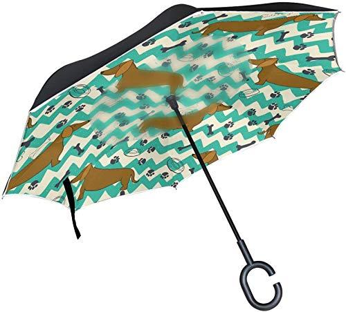 Paraguas invertido de hueso con estampado de pata de perro Dachshund azul retro,mango en forma de C,a prueba de viento,a prueba de rayos UV,para viajes al aire libre,paraguas reversible para coche