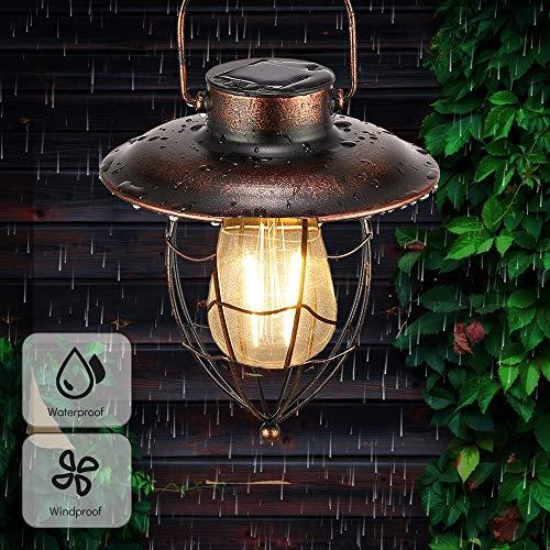 pearlstar Hanging Solar Lantern Outdoor Vintage Garden Solar Light Retro Solar Lamp for Garden Yard Patio Pathway Tree Decoration, Solar Powered Waterproof Landscape Lighting (Copper)