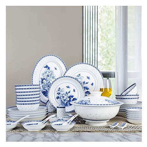 HLZY Juego de Tazas de té de Lujo, Juego de té portátil Vajilla de vajilla Azul y Blanca a Mano China, Platos exquisitos de cerámica acristalados a Mano, Conjunto de vajillas de tazón de arroz