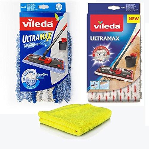Siluk&Vileda Ersatzbezüge UltraMax Microfibre & Siluk Microtuch I 2x Wischbezüge Vileda Microfaser + Baumwolle für Fliesen PVC Parkett Laminat I Flat Mop für Vileda UltraMat 3er-Set