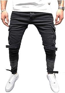 Men's Distressed Skinny Jeans Slim Fit Patchwork Jeans Ripped Holes Denim Pants Stretchy Biker Jeans Street