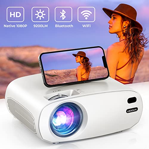 WiFi Bluetooth Projector, VIDOKA Native 1080P Movie Projector with Bag , 9200L HD Portable Outdoor...