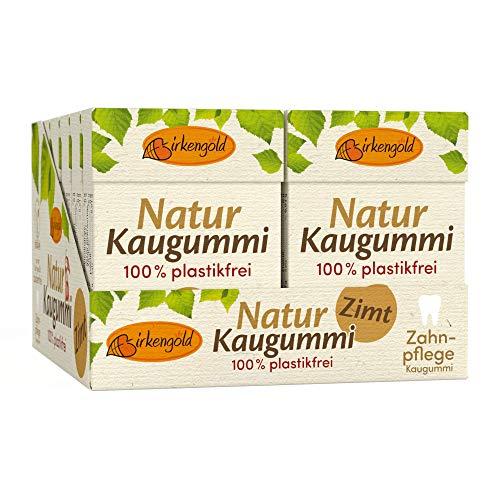 Natürlicher Kaugummi Zimt | 12 Stk. | Ohne Plastik | Xylit Kaugummi | Chicle Kaumasse | Zahnpflegend | Zuckerfrei | Umweltfreundlich | Birkengold