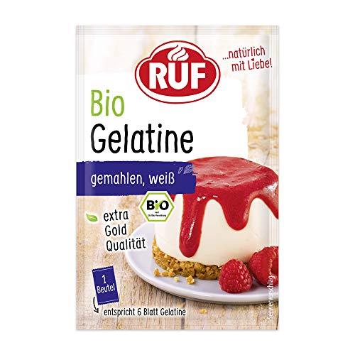 RUF Bio Gelatine gemahlen weiß vom Schwein aus zertifiziert kontrolliertem biologischen Anbau, 3 x 9 g