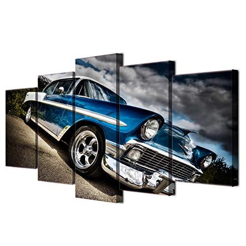 PULUKESns Cartel de Arte de Pared HD Impreso Marco de imágenes modulares 5 Piezas Coche Chevrolet Bel Air Lienzo Pintura decoración del hogar Sala de Estar PENGDA