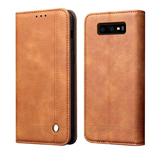 Brown ,RUIHUI Luxury Leather Wallet Folding Flip Protective Shock Resistant Book Type Case Cover with Card Slots,Kickstand and Magnetic Closure 2019 Galaxy S10 Case,Flip Case Cover for Samsung Galaxy S10