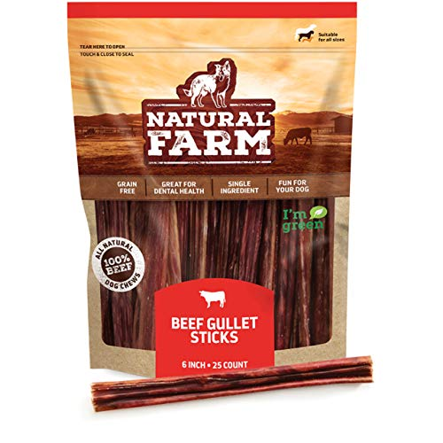 Natural Farm Made and Packaged Gullet Sticks: 6-Inch Long (25-Pack), One Ingredient Beef Esophagus Chews - Fully Digestible, Promotes Joint & Dental Health, Great for Pup, Small & Senior Dogs