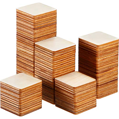Unfinished Wood Pieces Blank Wood Squares Round Corner Wooden Cutouts for DIY Supplies, Craft, Decoration, Laser Engraving Carving (1.5 x 1.5 Inch, 150 Pieces)