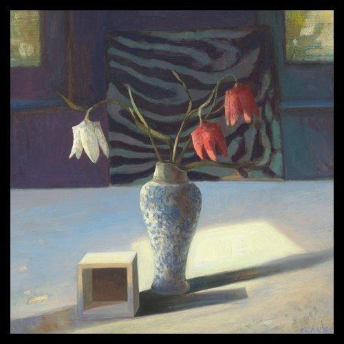 Bild mit Rahmen Edwin Aafjes - Kievitsbloemen - Digitaldruck - Holz schwarz, 60 x 60cm - Premiumqualität - Modern, Impressionen, Stillleben, Tisch, Blumenvase, Schachblumen, Holzkubu.. - MADE IN GERMANY - ART-GALERIE-SHOPde