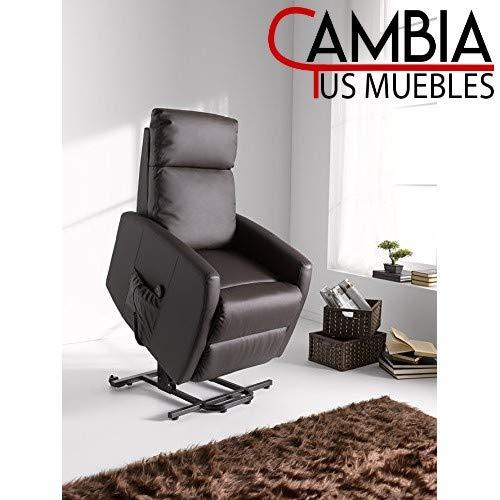 CAMBIA TUS MUEBLES - Butaca Lyon Polipiel Choco con Motor, sillón Relax, reclinable