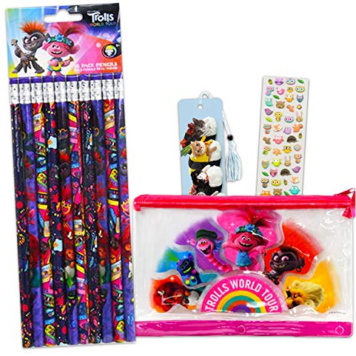 Trolls Pencils and Pencil Case Super Set ~ Trolls World Tour Pencil Case with 10 Pencils and Bookmark and Stickers (Trolls School Supplies Bundle)