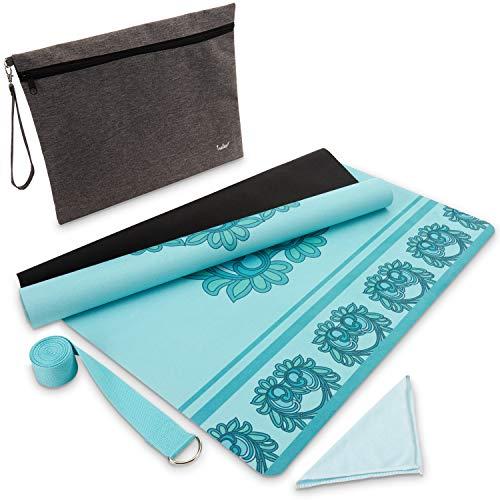 tralex Yogamatte – Faltbare Gymnastikmatte aus Naturkautschuk inkl. Yoga Gurt und Tasche – Extra leichte Yoga Matte für Reisen – Yogamatte rutschfest