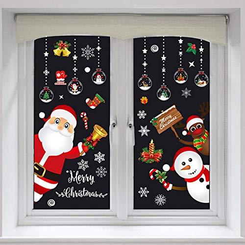 4 unidades de decoración navideña con copos de nieve, para cristal, decoración de Navidad, decoración de interiores, Navidad, Papá Noel, copo de nieve, muñeco de nieve, elfo, reno