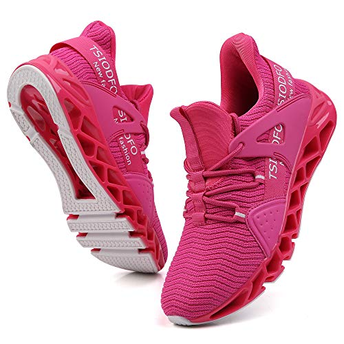 Ezkrwxn Sport Shoes for Women Sneakers Fashion Casual Slip on Running Tennis Athletic Walking Shoes Non Slip Gym Trail Runner Blade Jogging Shoe Rose Red Size 9