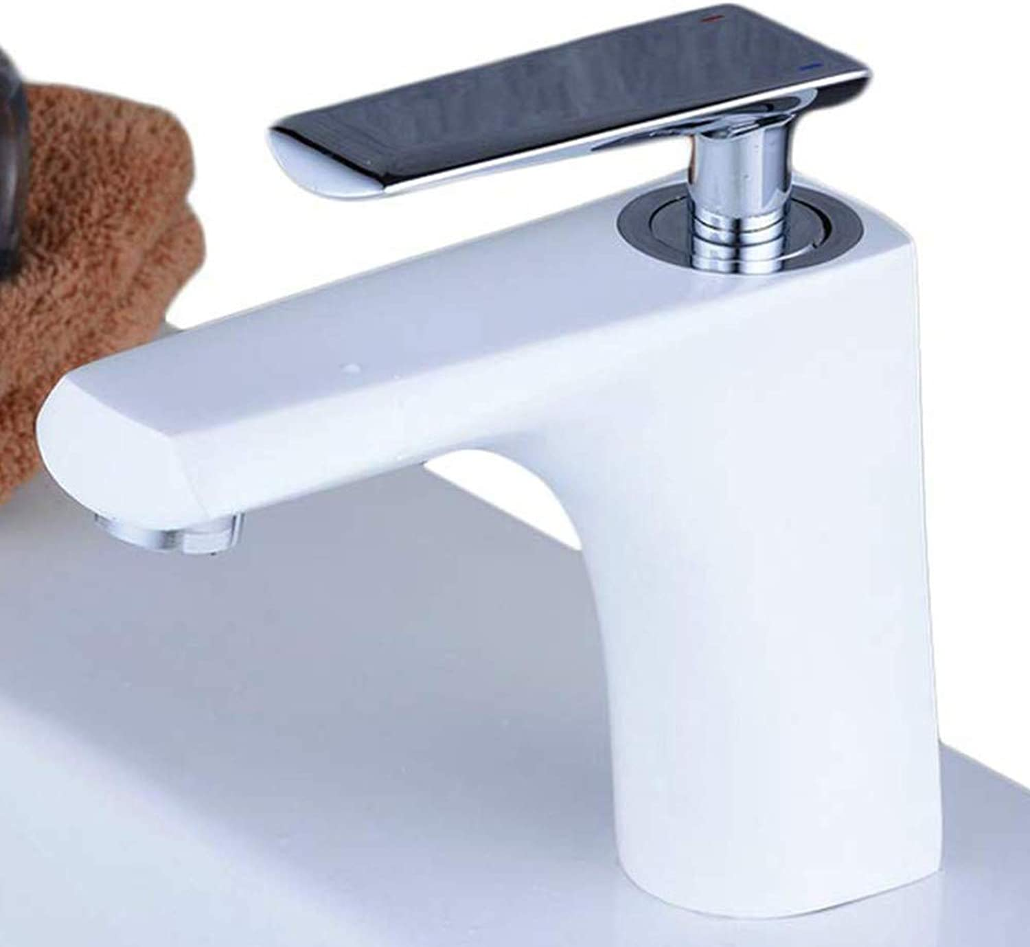Water Tap Basin Mixer Tap Bathroom Sink Taps Lever Wash Basin Faucet White