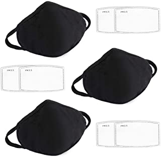 3 Pack Face Mask Reusable with 6pcs Activated Carbon Filter,BOJO 2 Layer Black Cotton Fabric Breathable Fashion Face Protection Masks, Washable Cloth Mouth Cover,X-large Size for Men and Women
