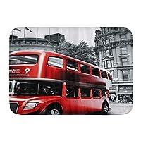 KAPANOU バスマット 吸水速乾 風呂マット ふんわり、赤いロンドンバスで白黒写真、丸洗い 快適 浴室 洗面所 脱衣所 玄関 キッチン 滑り止め付き 45x75cm