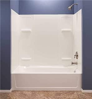 El Mustee 950 Durawall Thermoplastic Bathtub Wall Kit, 5 Pieces, 4 Shelves, White, 30 x 60