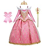CinheyU Princess Birthday Dress Girls Sleeping Beauty Costume Halloween Christmas Fancy Cosplay Party Outfits w/Accessories 11-12T