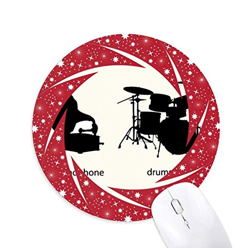 Song Music Drum Kit Energy Pattern Wheel Maus Pad Round Red Rubber