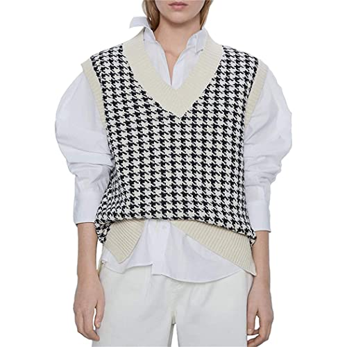 FRMUIC Women's Houndstooth Top Vest Knitted Shirtv Neck Sleeveless Pullover European and American Fashion Sweater (X-Large, Off White)