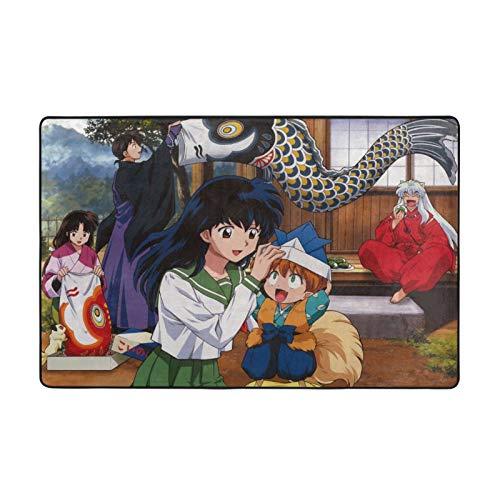 Inuyasha - Alfombrilla de suelo para decoración del hogar, habitación familiar, suave, antideslizante, dormitorio, yoga, camping, cojín para niños y niñas, 60 x 99 cm