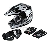 TCMT Dot Youth & Kids Motocross Offroad Street Helmet Black Skull Motorcycle Youth Helmet Dirt Bike Motocross ATV Helmet+Goggles+Gloves S