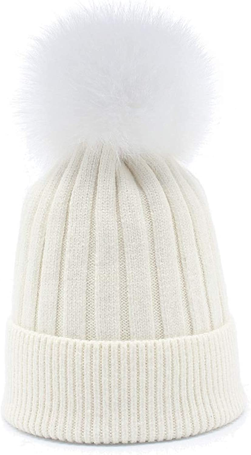 Hat Women's Winter Thick Warm Knit Cap with Hair Ball (color   White)