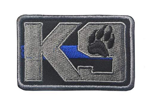 Ohrong K9 Dog Paw Blue Line - Brazalete táctico con Parche de Moral Bordado, diseño de Huella de Perro, con Gancho y Bucle