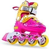 Patines en línea Rodillo Ajustable Patines De Profesional EN LÍNEA Niños Individual De PVC, Zapatos, Zapatos De Rodillos For Niños De 3 Rosa Tamaño Protección Completa (Color : Pink, Size : M)