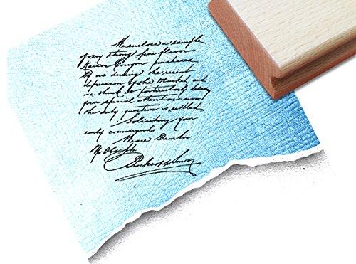 ZAcheR-fineT Stempel, tekst stempel VINTAGE ÉCRITURE V met oude handschrift, elegante letterstempel voor uw eigen design in shabby chic stijl