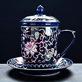 Gossip Boy Ceramica Kung Fu Set tè Set di Ceremony Accessori Tazza di Acqua Tazza di tè Tazza di tè smaltato Acqua tè separata Macchina Tazza Tazza Tazza Ciotola piattino Coperchio-Blu