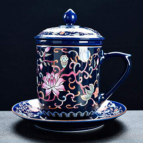 Cerámica Kung Fu Conjunto de té Ceremonia de té Accesorios Taza de agua Taza de té Té Té Agua Máquina de té separada Taza Taza Platillo Tapa-azul