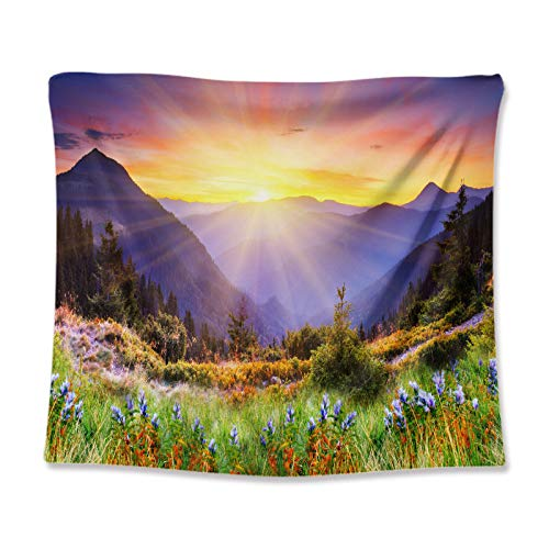 LZYMLG Natural Scenery Sun Forest Mountain Tapestry Wall Hanging Wall Tapestry Hippie Tapestry Wall Carpets Beauty Psychedelic Tapestries GT111006 130 * 150CM(Plus velvet)