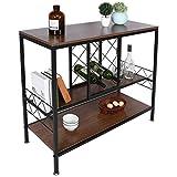 Ausla Botellero botellero estantería para vino con botellero para vino y 2 ganchos para copas de vino, de paneles de MDF y hierro, 39,7 x 105 x 88,5 cm
