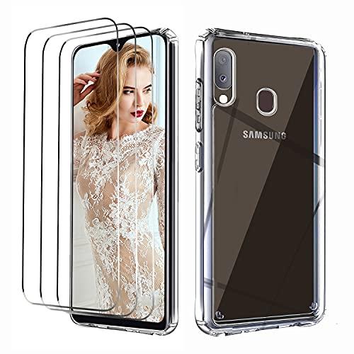 NUDGE Funda para Samsung Galaxy A20e con 3 Piezas Cristal Templado,Carcasa Protectora de Silicona TPU Transparente de Alta Gama, Parte Trasera Rígida para PC, Case con Airbag de Cuatro Esquinas