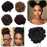 Kinky Curly Updo Fluffy Scrunchy Hairpiece Short Afro Puff Drawstring Ponytail Elastic Chignon Bun Hair Extensions with 2 Clips for African American Women-Dark Brown, 2 pcs