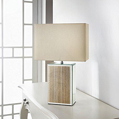 Square Glitter Mirror Table Lamp - Gold