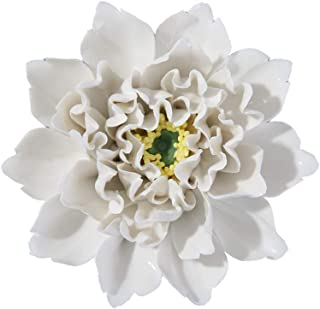 ALYCASO Artificial Flowers Wall Decoration for Living Room Bedroom Hanging 3D Wall Art Ceramic Flower Pediments Sculpture, White, 4.7 inch