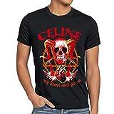 Celine Heart Heavy Metal Mens T-Shirt Skull Heart Skirt Dion Skull Biker Tee
