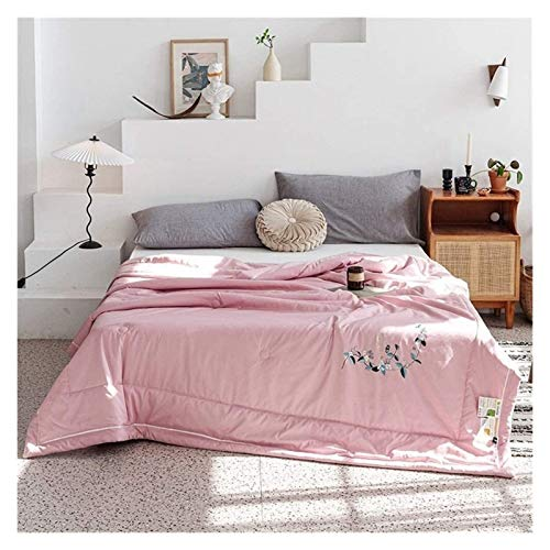 HFXY Washable Comforter Soft Quilted Down 1.5 Tog Single/Double Summer & All Season Hypoallergenic Quilt For Sofa Bed Blanket Throw 1012 (Color : Pink, Size : Single)