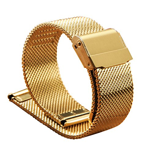 XLORDX Uhrenarmband Mesh Milanese Edelstahl Gold 18mm