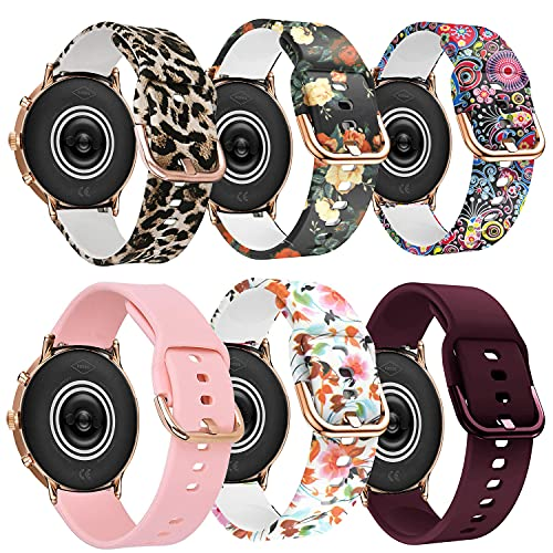 ViCRiOR Bands Compatible with Fossil Gen 5 Julianna Women's Smart Watch, 22mm Quick Release Soft Silicone Fadeless Pattern Printed Floral Replacement Band for Fossil Gen 5 Carlyle