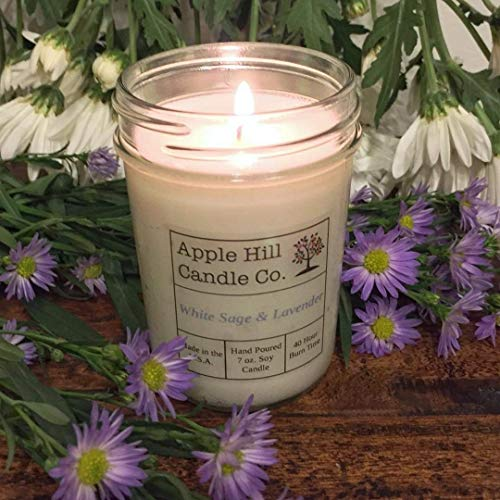 White Sage and Lavender - Handmade Natural Soy Candle (7 oz.) | Aromatherapy Candle | 30-40 Hours Burn Time