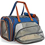 Mr. Peanut's Expandable Airline Approved Soft Sided Pet Carrier, Travel Tote with Fleece