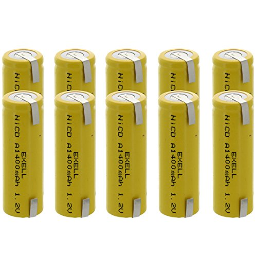 10x Exell A Size 1.2V 1400mAh NiCD Rechargeable Batteries with Tabs for meters, radios, hybrid automobiles, high power static applications (Telecoms, UPS and Smart grid), radio controlled devices