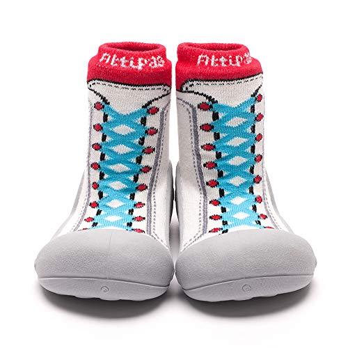 [Attipas] SNEAKERS2レッド [ スニーカーズ [アティパス ] ベビーシューズ L(12.5cm) / かわいいベビーシューズ 滑り止め 公園遊び 出産祝い プレゼント あんよの練習 保育園靴 ソックスシューズ プレシューズ 室内履き 女
